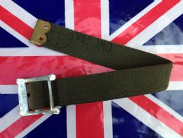 "NEW STEEL BUCKLED GREEN CANVAS STRAP 14"" LONG"